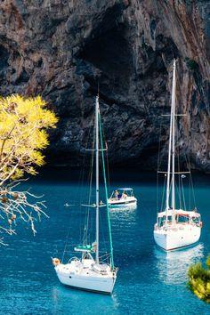 Sail boats in Sa Calobra, Mallorca