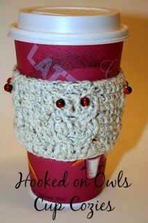 Crochet Hooked on Owls Cup Cozy free pattern.