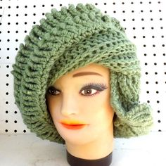 Crochet Hat Womens Hat ROYAL Crochet Beanie Hat Light Sage Green Hat Sage Hat Winter Hat Womens Beanie Hat Women Strawberry Couture by strawberrycouture by #strawberrycouture on #Etsy