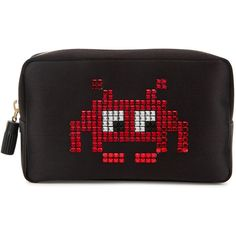 Anya Hindmarch Space Invaders satin cosmetics case (£325) ❤ liked on Polyvore featuring beauty products, beauty accessories, bags & cases, toiletry kits, make up purse, anya hindmarch makeup bag, travel toiletry case and anya hindmarch