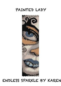 Painted Lady Peyote Cuff Bracelet Pattern    Even Count    Finished piece is 1.91 inches x 6.99.    Whats included:    - Word Chart  -