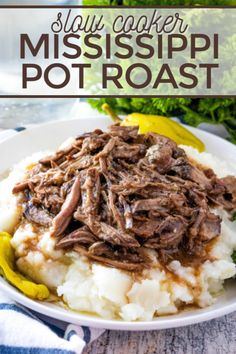 This Slow Cooker Mississippi Pot Roast is the easiest and most delicious pot roast you'll ever make! This popular recipe is FULL of flavor! [AD]