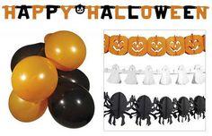 1 Halloween versierset bestaande uit:1 spook slinger van 4 meter1 pompoen slinger van 4 meter1 spin slinger van 4 meter5 zwarte ballonnen5 oranje ballonnen1 wenslijn met de tekst 'Happy Halloween