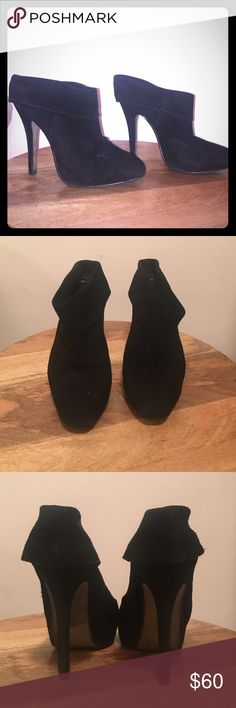 Beautiful suede ankle booties 3 1/2 inch heels cut just below the ankle. Perfect with opaque black tights or cut off jeans. Max Studio Shoes Ankle Boots & Booties