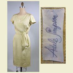 1950s pale yellow silk Adele Simpson day dress