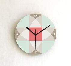 clock aqua beige soft pastel geometric decor salmon turquoise wall clock wall art wall hanging home decor kitchen clock living room clock on Etsy, $39.00