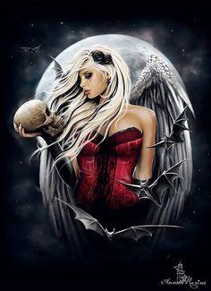 [Fantasy Art Addiction] - 'Angel of death' - Artist: Anna Marine Art_n. Dark Angels, Angels And Demons, Fallen Angels, Gothic Angel, Gothic Fairy, Illustration Fantasy, Portrait Illustration, Dark Fantasy Art, Dark Gothic Art
