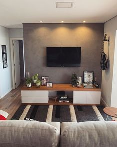 Cute Living Room, Simple Living Room, Living Room Decor, Small Living Rooms, Living Room Tv Unit Designs, Studio Apartment Decorating, Simple Apartment Decor, Home Furniture, Sweet Home