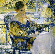 """""""Girl with a Guitar (Daydreams)"""", Richard E. Miller, Oil on Canvas, (1916-17; painted in Pasadena)  ---Richard E. Miller (1875 – 1943) was an American Impressionist painter and a member of the Giverny Colony of American Impressionists. Miller was primarily a figurative painter, known for his paintings of women posing languidly in interiors or outdoor settings"""