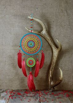 Dream catcher multi color/Bright by MyHappyDreams on Etsy