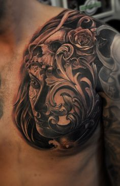 Chicano Tattoos Sleeve, Skull Tattoos, Body Art Tattoos, Cool Chest Tattoos, Chest Piece Tattoos, Man With Tattoos, Tattoos For Guys, Incredible Tattoos, Beautiful Tattoos