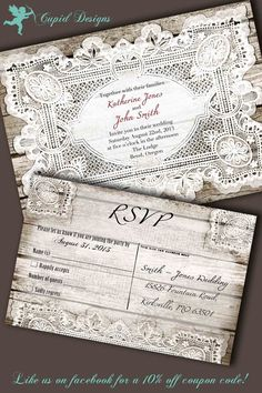 Rustic Vintage Wood Western French Country Lace Elegant Wedding Invitation Suite DIY printable on Etsy, $65.00