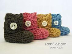 PATRÓN de ganchillo bebé botón botas 4 por YarnBlossomBoutique