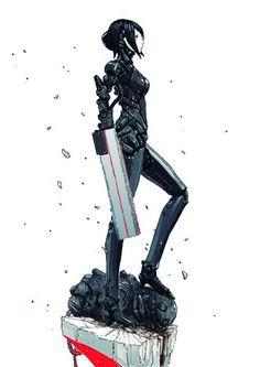 Sanakan · Character design three view Cyborg Anime, Cyberpunk Anime, Cyberpunk Character, Manga Art, Manga Anime, Anime Art, Blame Manga, Character Concept, Character Art