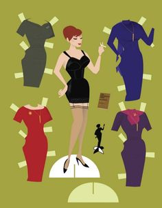 New Dress A Day - Joan Holloway Paper Dolls - Costume