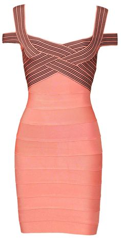 'Natasha' Rose Pink & Black Cross Bust Bandage Bodycon Dress