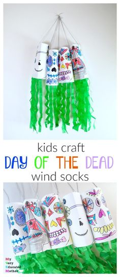 Kids Craft: Day of the Dead Wind Socks Perfect for making with a class or group. Kids Craft: Day o Learning Spanish For Kids, Spanish Lessons For Kids, Craft Activities, Preschool Crafts, Kids Crafts, Halloween Crafts For Kids, Group Halloween, Halloween Art, Mexico For Kids