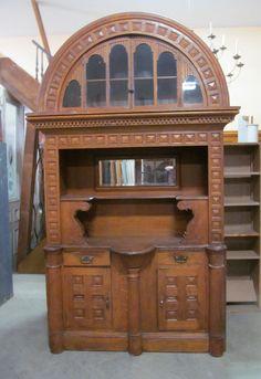 """built in oak cabinet BKTT Built-in Quartered Oak Cabinet w/Beveled Glass Mirror Circa 1900 RO 54"""" w x 101"""" h x 24"""" d CB-0005"""