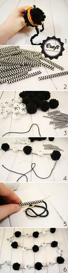 This DIY Pom pom and paper straw Christmas garland is super easy and fun to make. You could make it in any color, or multiply colors! A must...
