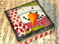 Candy Cane Snowman ORIGINAL mixed media PAINTING canvas ART by Megan. $35.00, via Etsy.