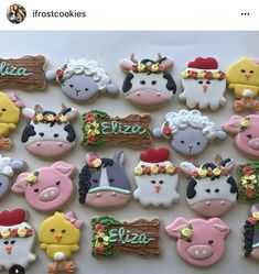 by ifrostcookies Cow Birthday Parties, 2nd Birthday Party For Girl, Girl Birthday Themes, Farm Birthday, Birthday Treats, Birthday Cookies, Farm Cookies, Sugar Cookies, Cow Baby Showers