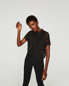image 3 of embroidered lace t shirt from zara zara 2017. Black Bedroom Furniture Sets. Home Design Ideas