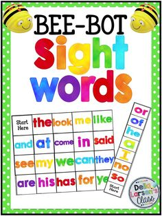 Sight word BEEBOT mat. Perfect for your word work centers. A terrific way to increase reading fluency Engage all learners with robotics