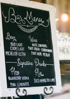 Basic selection of beer and wine plus his and her signature drinks for the wedding. LOVE THIS