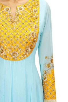 Ohaila Khan Yellow Color Combinations, Suit Combinations, Colour Combo, Hand Work Embroidery, Embroidery Dress, Floral Embroidery, Embroidery Designs, Blue Yellow Weddings, Mehendi Outfits