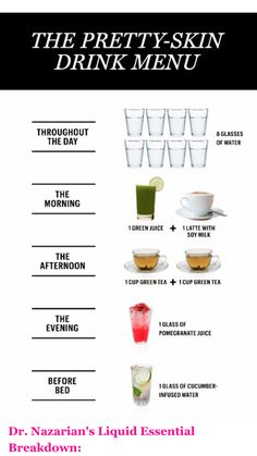 A Drink Menu for the Prettiest Skin of Your Life Dermatologist Rachel Nazarian, M. at Schweiger Dermatology Group, helped us come up with a drink menu that's great for your skin! A Drink Menu for the Prettiest Skin of Your Life Beauty Care, Beauty Skin, Beauty Hacks, Diy Beauty, Homemade Beauty, Beauty Ideas, Face Beauty, Natural Beauty Tips, Beauty Tips For Skin