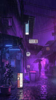 Purple Rain by Mike Winkelmann (beeple) Dark Purple Aesthetic, Violet Aesthetic, City Aesthetic, Aesthetic Colors, Aesthetic Anime, Aesthetic Pictures, Purple Rain, Purple City, Neon Purple