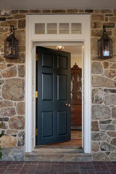 Front Door Colors With Stone House Window 45 Ideas Front Door Entrance, Front Door Colors, House Entrance, Front Entrances, Stone Front House, House Front Door, Transom Windows, Windows And Doors, Black Front Doors