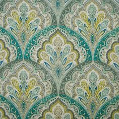Blue and Teal color Medallion and Paisley pattern Cotton and Prints type Upholstery Fabric called Spa Blue by KOVI Fabrics Paisley Curtains, Paisley Bedding, Paisley Fabric, Ikat Fabric, Yellow Fabric, Fabric Decor, Peacock Fabric, Beach Fabric, Peacock Blue