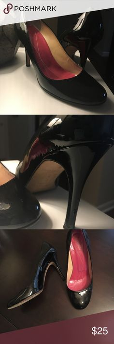 Kate Spade patent pumps Good condition and excellent for office or evening! 3 1/2 in heel, patent leather. Fits true to size. Left heel does have some nicks in the leather and there's a scuff (which can probably just be polished out) on the back, just above left heel. See photos. Comfortable and broken in, just can't keep my taller heels anymore due to a knee injury. No box or bag. Reposh. kate spade Shoes Heels