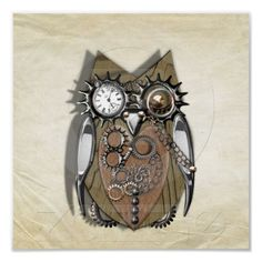 Steam Punk Mechanical Cute Owl Decorative Wall Art Poster Prints