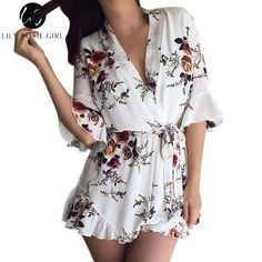 97ce87f8bb Lily Rosie Girl Deep V Neck White Floral Print Women Jumpsuit Boho Summer  Short Rompers Ruffles