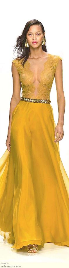 #Paris FW Valentin Yudashkin Spring 2014 - the sexy elegant evening dress that captures her style and expresses her attitude -  The sexy pretty woman in yellow - # Win her heart with #Thejewelryhut fancy designer diamonds or color gemstones jewelry gift of love