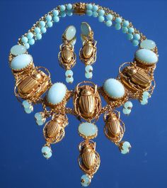 I am very pleased to offer for purchase a stunning scarab necklace set by Askew London. This company was established in the 1980's. Askew London's    $350.00