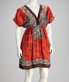 Take a look at this Red & Brown V-Neck Cape-Sleeve Dress by Shoreline Wear on #zulily today! $9.99, regular 58.00