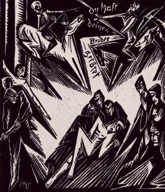 german expressionism: Most artists of the expressionism movement believed that their art could ultimately improve the human race. This image strongly resembles ones in the book.