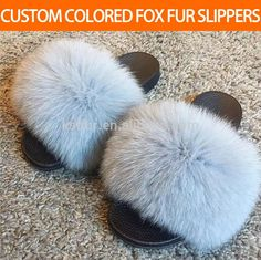 Factory price wholesale all sorts of colour fox hair slippers real fox fur household shoes fashionable winter warm