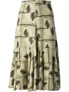 Shop Biba Vintage geometric print skirt-- Decades