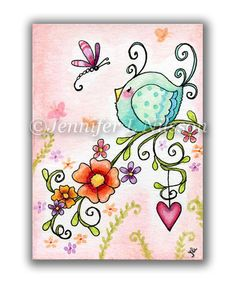 Springtime Friends  ACEO open edition PRINT.    Based on my original watercolor ACEO by the same title and printed here in the studio using archival