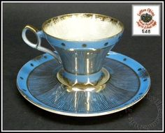 Vintage Blue & Gold Leaf, Mother of Pearl Cup & Saucer Set by Lefton China
