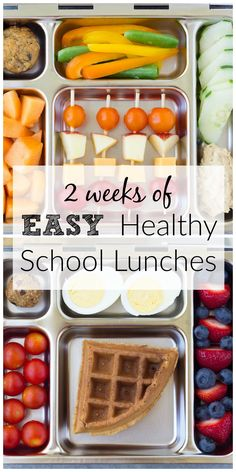 Two weeks of healthy school lunches for kids! These are the lunches that my kids LOVE, and they are easy to make (with some make ahead tips)!