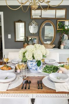 Modern traditional Mother's Day table decor featuring classic Chinoiserie and budget dinnerware and servingware from Walmart.