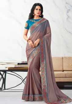 Buy Shaded Pink Chiffon Saree With Blouse 203756 with blouse online at lowest price from vast collection of sarees at Indianclothstore.com. Western Union Money Transfer, Long Cut, Chiffon Saree, Pink Fabric, Blouse Online, How To Dye Fabric, Color Shades, Color Tones