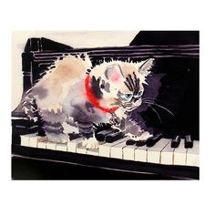 Cat Art Watercolor Print Kitten White and  Black and by LaBerge, $20.00