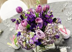 Purple Wedding Table Linens | ... table linens for the guest tables and decked the cake table with a