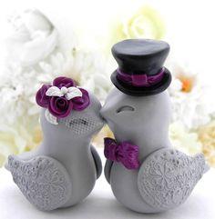Liebe Vögel Hochzeitstorte Topper weiß Pflaume lila schwarz